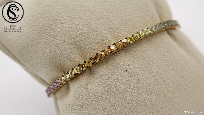 Bracciale in oro giallo con zaffiri arcobaleno 6,15 ct.